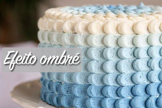 bolo efeito ombre azul