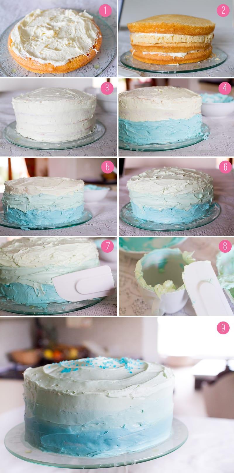 montagem bolo ombre degrade