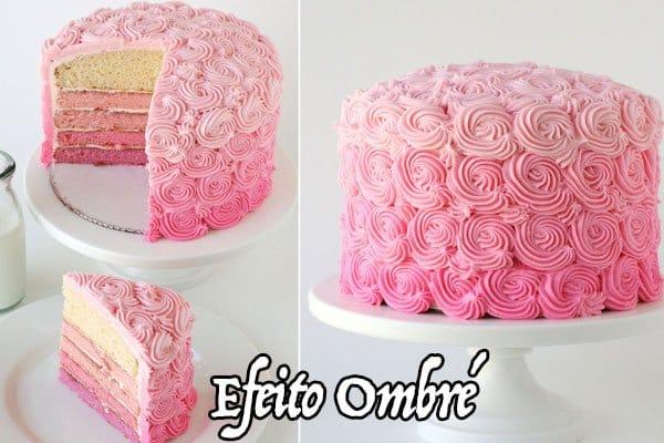 bolo efeito ombre rosa
