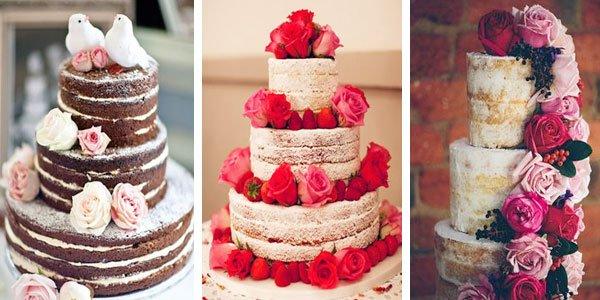 naked cake rosas e flores