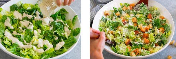 preparo ceasar salad