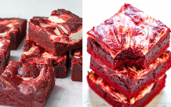 Brownie Red Velvet com cobertura de Cream Cheese